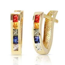 1.3 Carat 14K Solid Gold Huggie Earrings Multicolor Sapphire - $216.60