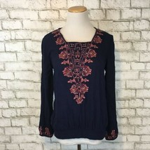 Lucky Brand Women's Navy Blue Embroidered Bohemian Blouse Shirt Size Small - $21.59