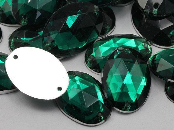 18x13mm Green Emerald CH18 Oval Flat Back Sew On Gems For Craft 50 PCS