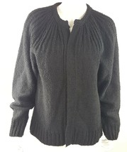James St. John Womens Small Solid Black Open Front Knit Cardigan Sweater... - $18.49