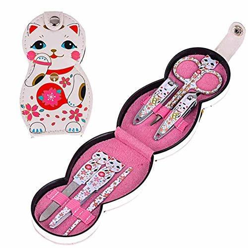 Fortune Cat Fingernail Clippers Portable Nail Care Kit Travel Manicure Set
