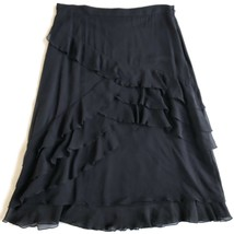 ST. JOHN Evening Black Silk Chiffon Skirt Layers Ruffles Skirt Size 12 - $79.99