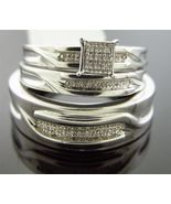 Diamonds Trio his / her Engagement Ring band set 925 Silver .20CT size 6... - $138.11