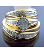 Diamonds Trio his / her Engagement Ring band set 925 Silver .35CT size 6... - $141.67