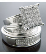 Diamonds Trio his / her Engagement Ring band set 925 Silver .65CT size 7... - $345.70
