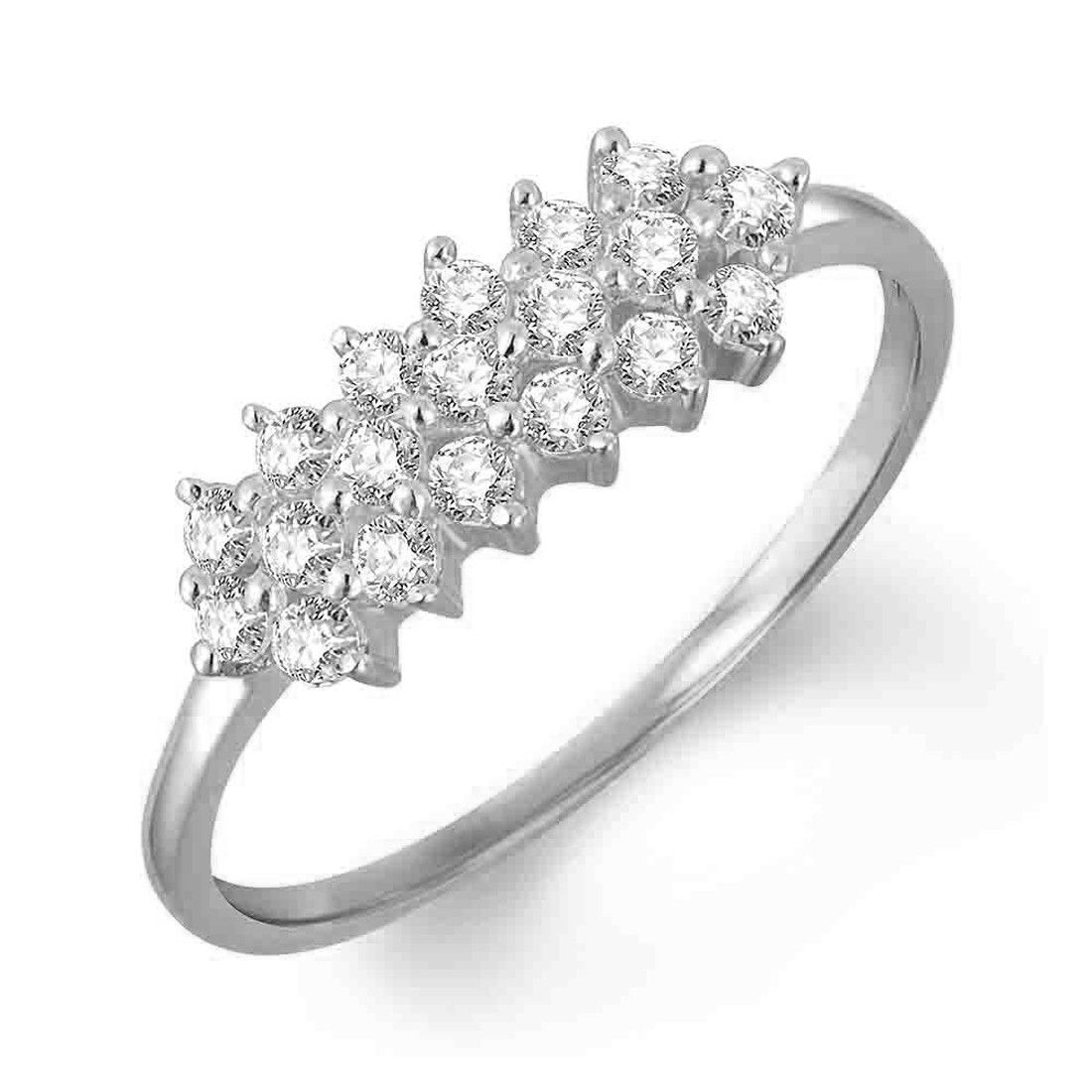 Primary image for 14k White Gold Over 925 Silver Diamond Cluster Engagement Ring Women Jewelry