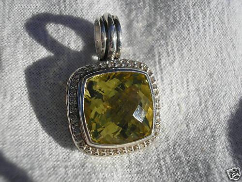 David Yurman LEMON CITRINE Diamond 14mm Enhancer NEW