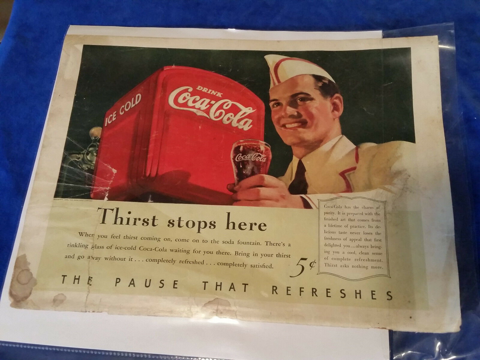 "Primary image for 1940 Original Coca Cola Magazine ad Thirst Stops Here 10 1/2""x14"""