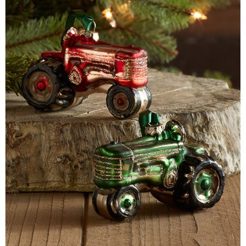 Melrose International Tractor Ornament, Set of Six