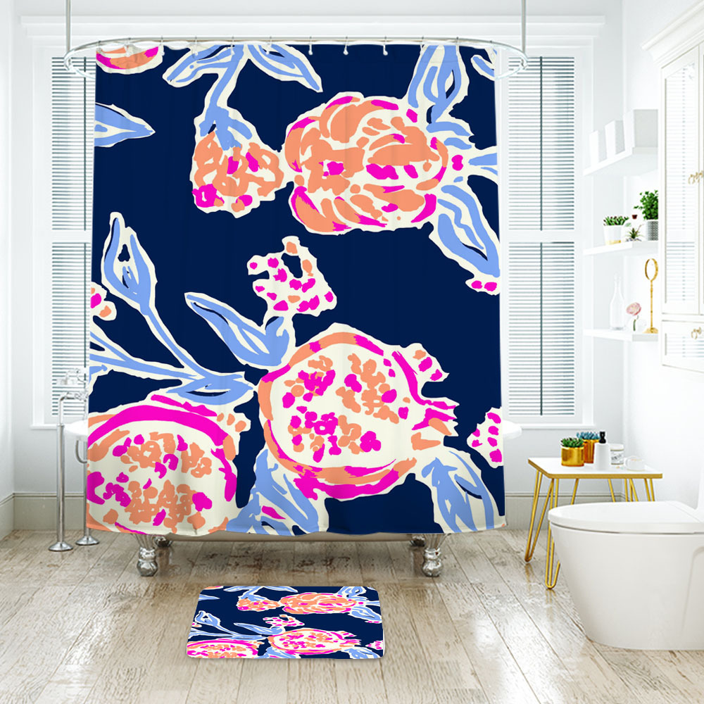 Primary image for Flower Lilly Pom Pom Shower Curtain Waterproof & Bath Mat For Bathroom