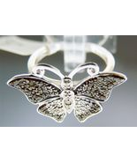 Lady butterfly Ring .925 silver white and black diamonds 0.50ct 3.9gm si... - $170.20