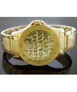 Men King Master Quartz watch yellow gold tone case 12 diamond Square yel... - $59.39