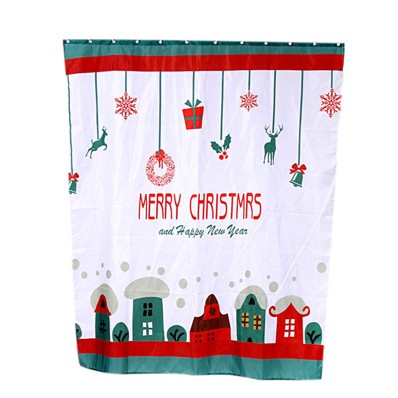 2017 hot sale Custom Merry Christmas Fabric Waterproof Bathroom Shower Curtain g