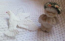 Christmas Tree Holiday Ornaments •  white DOVE AND ANGEL • pre-owned • l... - $11.89