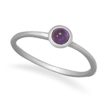 Sterling Silver Satin Finsh Band Ring with Amethyst - €29,97 EUR