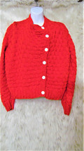 VINTAGE Women's Handmade  Knitted Off Center Buttons Cardigan Sweater Si... - $14.95