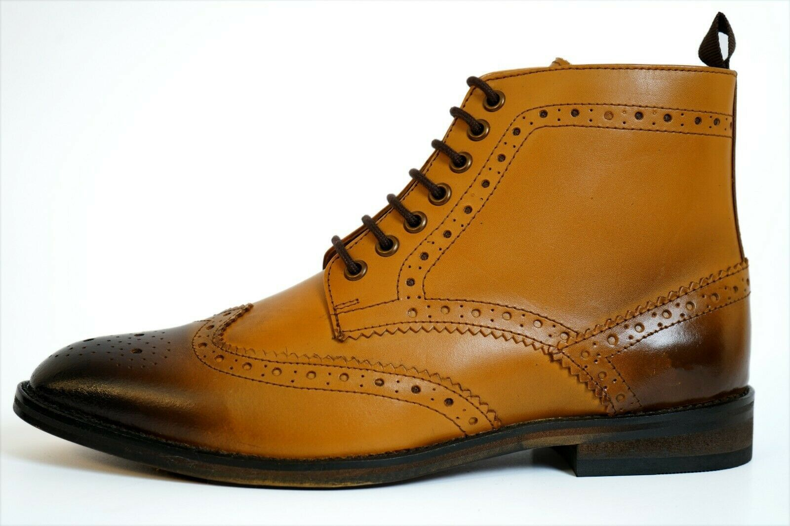 Handmade Men's Tan Burnished Wing Tip Brogue Style High Ankle Lace Up Leathe