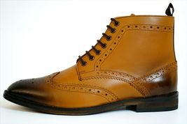 Handmade Men's Tan Burnished Wing Tip Brogue Style High Ankle Lace Up Leathe image 1