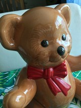 VINTAGE ROB ROY CERAMIC BROWN TEDDY BEAR BANK WITH RED BOW - $9.99