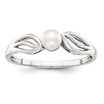 925 Silver Rhodium Plated FW Cult. Pearl June Birthstone Promise Ring Sz... - $27.20+