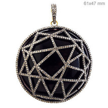 Black Onyx Gemstone Round Pendant Sterling Silver Studded 3.3ct Diamond 14k Gold - $1,386.62