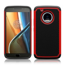 Red Hybrid Case for Motorola Moto E4 Plus - Hard Heavy Duty Cover USA & Fast! image 1