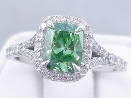 Certified 3.65Ct Green Emerald Halo Diamond Engagement Ring Solid 14K Wh... - $266.46