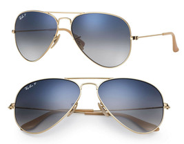 Ray Ban Sunglasses Aviator RB3025 001/78 58mm Gold w/Blue Gradient Polarized - $205.75