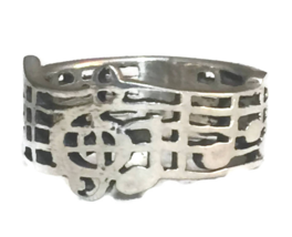 Vintage Music Musical Notes & Clef Sterling Silver Ring or Band Ring Siz... - $38.00