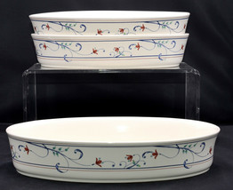 """Mikasa Annette * 3 OVAL CASSEROLES / SERVING BOWLS * 10"""" and 12"""", Intagl... - $46.52"""