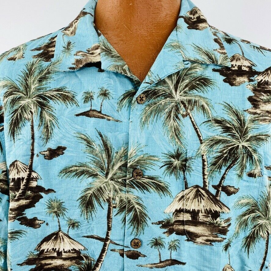Primary image for Caribbean Hawaiian Aloha XL Teal Blue Tiki Hut Palm Trees Islands Coconut Button