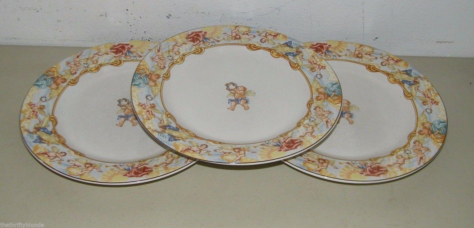 3 Fitz u0026 Floyd CHERUB Habitat Americana Omnibus Dinner Plate 16987 & 3 Fitz u0026 Floyd CHERUB Habitat Americana and 15 similar items