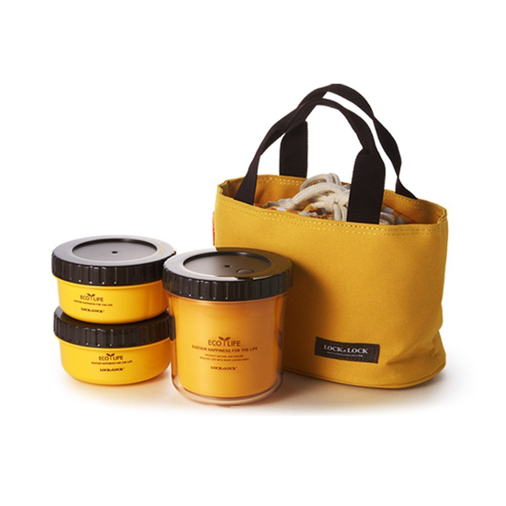 Primary image for Lock & Lock Lunch Box Multi-round Containers Set (Yellow)
