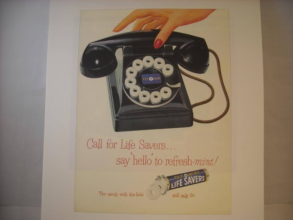 Vintage Life Savers Telephone Ad Reprint Poster