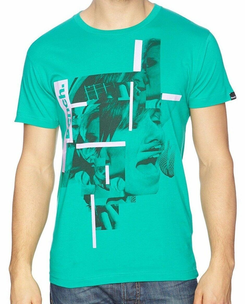 Bench GB Hombre Chop Música Músico Collage Camiseta Verde BMGA2706 Nwt