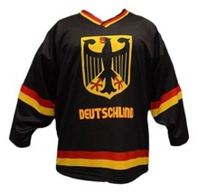Any Name Number Team Germany Men Sewn Hockey Jersey Black Any Size image 1