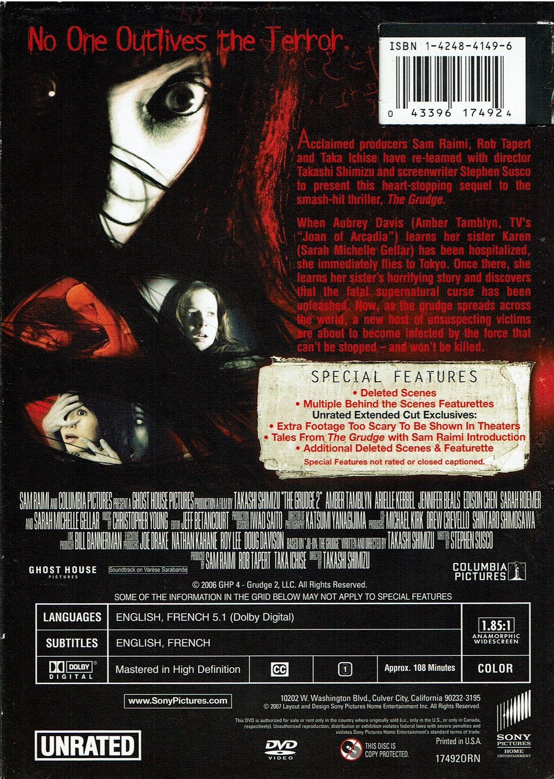 The Grudge 2, Unrated Director's Cut, DVD, 2007, Widescreen