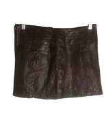 NWT Abercrombie & Fitch Women Brown Distressed Leather Skirt Mini Zipper... - $34.65
