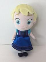 Disney Store Frozen Little Girl Toddler ELSA 12in Plush Stuffed Doll Toy Blue - $17.41