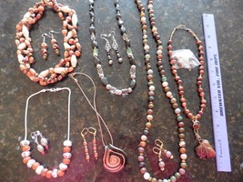 Necklace & Earring Lot of 6 SETS wholesale Beaded Glass Stone Shell wood... - $50.00