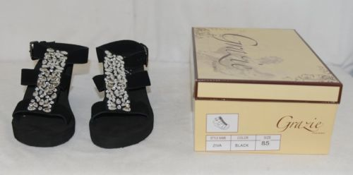 Grazie Footwear Ziva Black Jeweled Buckle On Sandal Size 8 And Half