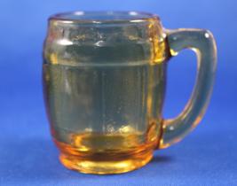 Amber Glass Toothpick Holder, Barrel Mug Shaped, Mini Beer Mug Shape - $9.95