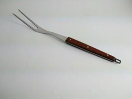 "Vintage EKCO Flint 12"" Carving Fork Serving Meat Stainless Steel Wooden Handle - $15.51"