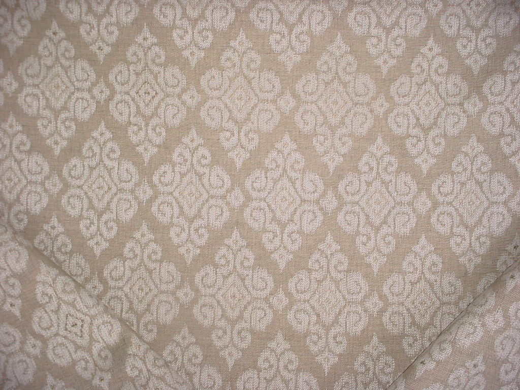 Primary image for 1-3/8Y THIBAUT SANDSTONE BEIGE FLORAL DAMASK DRAPERY UPHOLSTERY FABRIC