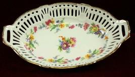 Centerpiece Bowl Reticulated  German  Porcelain Oval  Floral Design - $45.50
