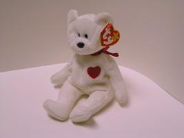 Vintage Rare Ty Valentino Beanie Baby Bear with tag errors - 1993 Original - $11.50