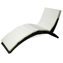 Black Rattan Sun Lounger Folding Pool Deck Sun Bed Garden Cushioned Rela... - $183.79