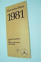 1981 mercedes 380sl slc300cd 500sec owners price card brochure w107 w123 w126 - $34.64
