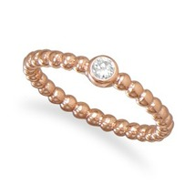 Rose Gold Plated Beaded Band Ring with CZ - $35.99