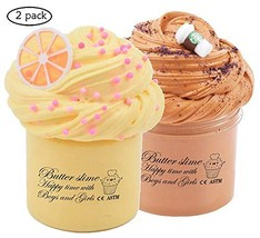 2 Pack Fluffy Butter Slime Kit, with Yellow Color Lemon Slime and Coffee Slime,